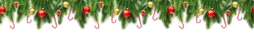 Christmas tree branches on white background as a border. Or template for christmas card royalty free stock photography