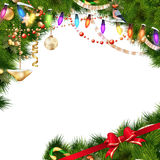 Christmas tree branches on white. EPS 10. Christmas tree branches with golden baubles  on white. EPS 10 vector file included Royalty Free Stock Photos