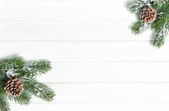 Christmas tree branches Winter holidays. Christmas tree branches on bright wooden background. Winter holidays royalty free stock images
