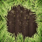 Christmas tree branches on wooden background. EPS 10 vector. Christmas tree branches on wooden background. Realistic fir-tree border. And also includes EPS 10 Royalty Free Stock Photos