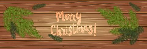 Christmas tree branches on a wooden background. top view. Christ. Mas card. festive background Royalty Free Stock Photography