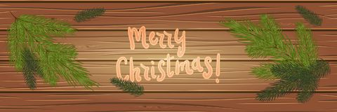 Christmas tree branches on a wooden background. top view. Christ. Mas card. festive background. Vector illustration. Eps 10 Stock Photos