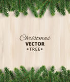 Christmas tree branches on wooden background, vector illustration. Realistic fir-tree border, frame. Great for christmas cards, banners, flyers, party posters Royalty Free Stock Images