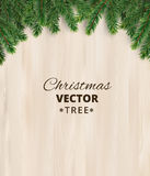 Christmas tree branches on wooden background, vector illustration. Realistic fir-tree border, frame. Great for christmas cards, banners, flyers, party posters Royalty Free Stock Photography
