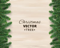 Christmas tree branches on wooden background, vector illustration. Realistic fir-tree border, frame. Great for christmas cards, banners, flyers, party posters Stock Images