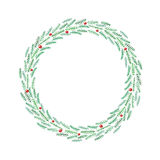 Christmas tree branches in the wreath. Christmas frame. Stock Photos