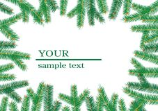Christmas tree branchs frame. Royalty Free Stock Photo