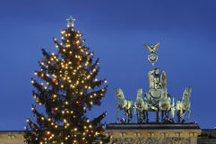 Christmas tree and Brandenburg Gate Royalty Free Stock Image