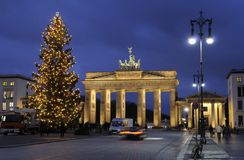 Christmas tree and Brandenburg Gate Stock Photo