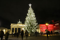 Christmas tree Brandenburg Gate Royalty Free Stock Image