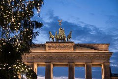 Christmas tree at brandenburger tor. In berlin stock photo