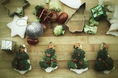 Christmas tree of bread  broccoli and tomatoes Royalty Free Stock Photos