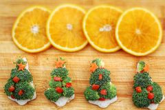 Christmas tree of bread  broccoli and tomatoes Stock Photos