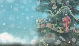 Christmas Tree on bright blue background Stock Images