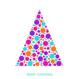 Christmas tree with bright holiday pattern made of colorful cir Royalty Free Stock Image