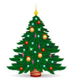 Christmas tree with bright lights. Christmas tree vector illustration. Decorated colorful traditional xmas trees symbol with bright lights and balls isolated on Royalty Free Stock Images