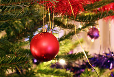 Christmas tree with a bright red decoration. Photo of christmas tree with a bright red decoration stock images