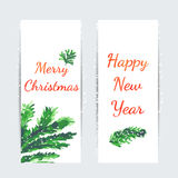 Christmas tree brunches banners. For web design and greeting cards Watercolor vector illustration Stock Photo