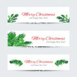Christmas tree brunches. Set of web banners with Christmas tree brunches and Merry Christmas text. Watercolor vector illustration for ypur design Stock Images