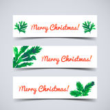 Christmas tree brunches. Set of web banners with Christmas tree brunches and Merry Christmas text. Watercolor vector illustration for ypur design Royalty Free Stock Photo
