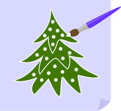 Christmas tree. The brush paints the Christmas tree white Royalty Free Stock Images