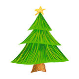 Christmas Tree Brush Stroke Drawing Stock Photos