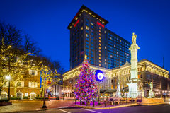 Christmas tree and buildings at Penn Square at night, in Lancast. Er, Pennsylvania stock photography