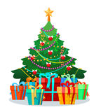 Christmas tree with bulbs and gifts Royalty Free Stock Photo