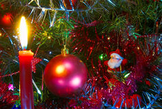Christmas tree. With burning candles and Christmas decorations Stock Photo