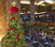 Christmas tree and cafe at Trump tower in NYC Stock Photo