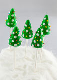 Christmas tree cake pops Royalty Free Stock Photography