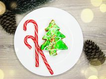 Christmas tree cake sweet festive dessert food Royalty Free Stock Images