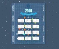 Christmas tree Calendar 2016 year design. English, Sunday start. Decorated Christmas tree with a star Stock Images