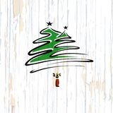 Christmas tree calligraphic sketch on wooden background stock illustration
