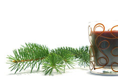 Christmas tree and candle Royalty Free Stock Photos