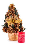 Christmas tree and candle Royalty Free Stock Images