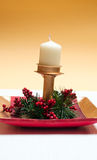 Christmas tree and candle decorations Stock Image