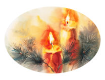 Christmas tree candle ellipse horizontal. Watercolor isolated illustration of Christmas tree, decorated with candles, new year, Christmas celebration Stock Photography