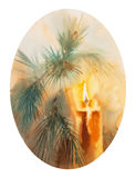 Christmas tree candle ellipse vertical. Watercolor isolated illustration of Christmas tree, decorated with candles, new year, Christmas celebration Stock Image