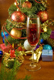 Christmas tree, candle and glass of wine Royalty Free Stock Photos