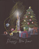 Christmas tree, candle and presents. Pencil drawing happy new year card design with lights on pine tree globes, boxes and fire of candle. Sketch on black Stock Photography