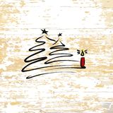 Christmas tree with candle sketch on wooden background vector illustration