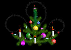 Christmas tree with candles on a black background Royalty Free Stock Photography