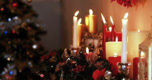 Christmas tree with candles and decoration. During christmas time 4k stock video footage