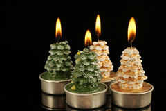 Christmas tree candles with reflection Stock Photography