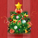 Christmas Tree. With Candy, Fir Branches, Mistletoe and Gift on Red Wooden Boards background, vector illustration Royalty Free Stock Photos