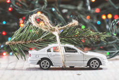 Christmas tree on car Stock Photos