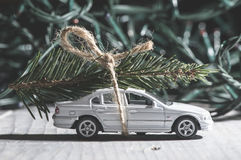 Christmas tree on car Stock Image