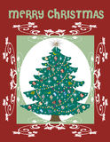 Christmas Tree Card. Vector Illustration of a Christmas Tree Card Stock Images
