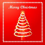 Christmas tree card. Slightly grungy and funky christmas tree - use for card or use elements Stock Photo